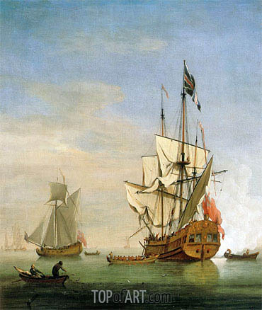 Willem van de Velde | An English Sixth-Rate Ship Firing a Salute As a Barge Leaves, A Royal Yacht Nearby, 1706