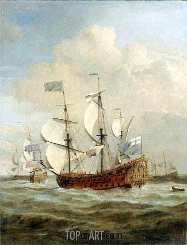 The 'St Andrew' at Sea in a Moderate Breeze, c.1673 | Willem van de Velde | Painting Reproduction