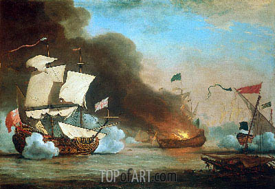 An English Ship in Action with Barbary Corsairs, 1685 | Willem van de Velde | Painting Reproduction