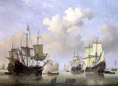 Calm: Dutch Ships Coming to Anchor, c.1665 | Willem van de Velde | Painting Reproduction