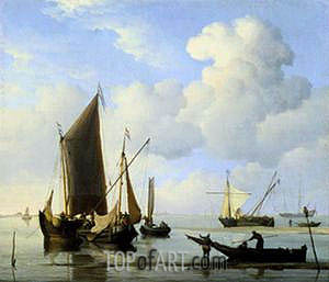 Calm: Fishing Boats at Low Water, c.1660 | Willem van de Velde | Gemälde Reproduktion