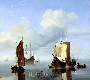 Calm: Fishing Boats under Sail, c.1655/60 | Willem van de Velde | Gemälde Reproduktion