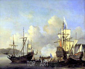 Calm: French Merchant Ships at Anchor, c.1670 | Willem van de Velde | Painting Reproduction