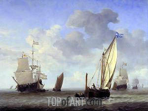 Vessels in a Breeze, c.1655 | Willem van de Velde | Gemälde Reproduktion