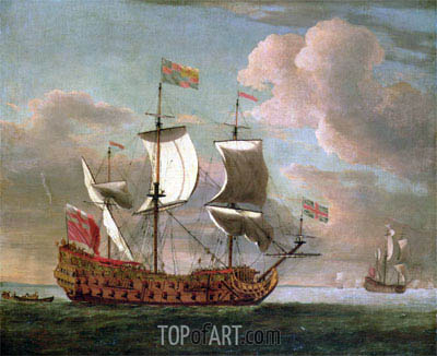 Willem van de Velde | The British Man-o'-War 'The Royal James' Flying the Royal Ensign off a Coast, undated