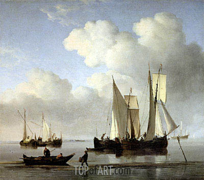 Willem van de Velde | A Wijdship, a Keep and Other Shipping in Calm, undated