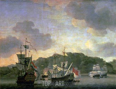 Willem van de Velde | A Naval Engagement, 1659