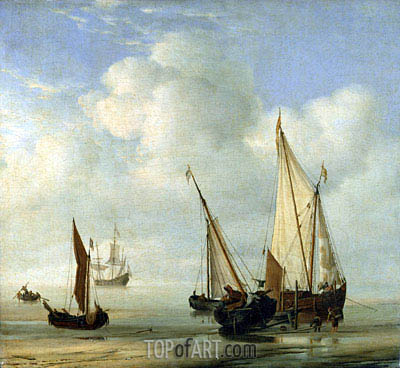 Calm Sea, c.1650 | Willem van de Velde | Painting Reproduction