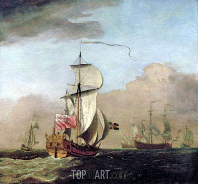 Willem van de Velde | The Second Duke of Albemarle's Ketch with a Yacht to the Left and Three Warships in the Distance to the Right, undated