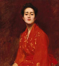 Girl in Japanese Dress, c.1895 by William Merritt Chase | Painting Reproduction