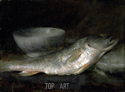 Still Life - Fish and Bowl, undated | William Merritt Chase | Painting Reproduction