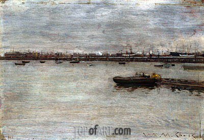 East River, c.1870/85 | William Merritt Chase| Painting Reproduction
