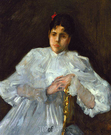 Girl in White, c.1890 | William Merritt Chase | Gemälde Reproduktion