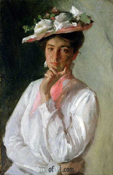 Woman in White, c.1910 | William Merritt Chase| Gemälde Reproduktion