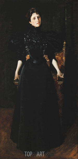 Portrait of a Lady in Black, c.1895 | William Merritt Chase | Painting Reproduction