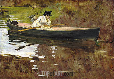 William Merritt Chase | Mrs Chase in Prospect Park, 1886
