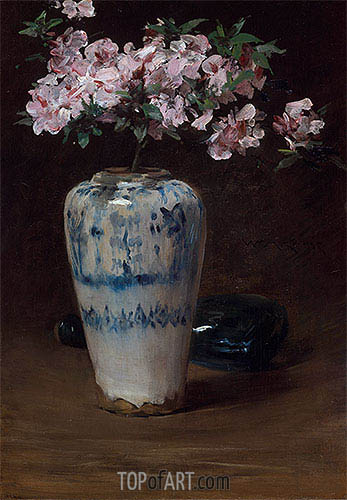 Pink Azalea-Chinese Vase, c.1880/90 | William Merritt Chase | Painting Reproduction