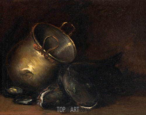 Still Life - Brass Kettle and Catfish, undated | William Merritt Chase | Gemälde Reproduktion