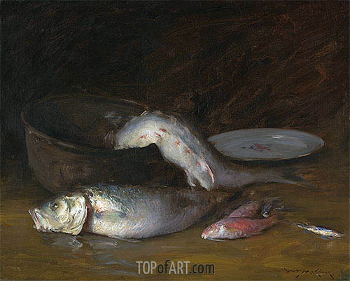 Still Life with Fish, c.1910 | William Merritt Chase | Gemälde Reproduktion