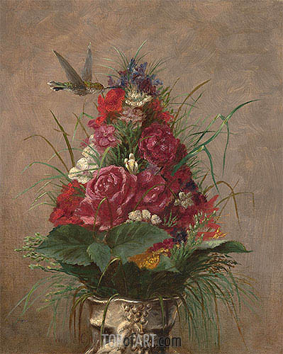 Floral Still Life with Hummingbird, 1870 | William Merritt Chase| Painting Reproduction