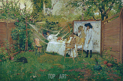 The Open Air Breakfast, c.1888 | William Merritt Chase| Painting Reproduction