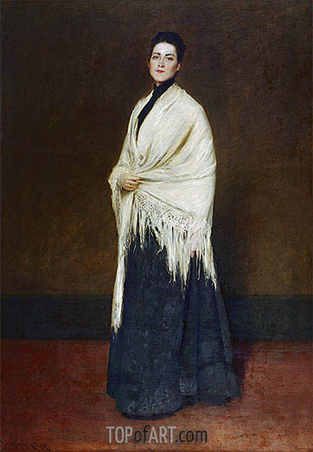 Lady with the White Shawl, 1893 | William Merritt Chase | Painting Reproduction