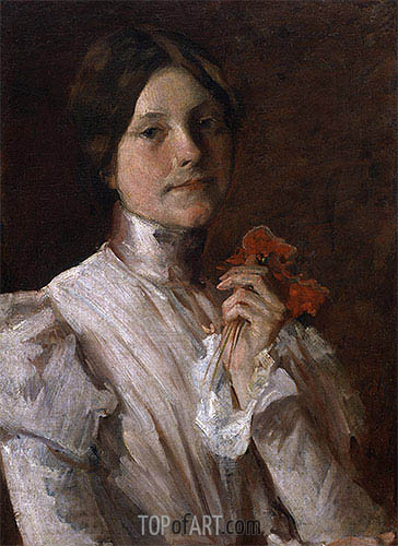 Young Woman with Red Flowers, 1904 | William Merritt Chase | Gemälde Reproduktion