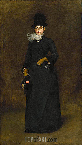 Ready for a Walk: Beatrice Clough Bachmann, c.1885 | William Merritt Chase| Gemälde Reproduktion