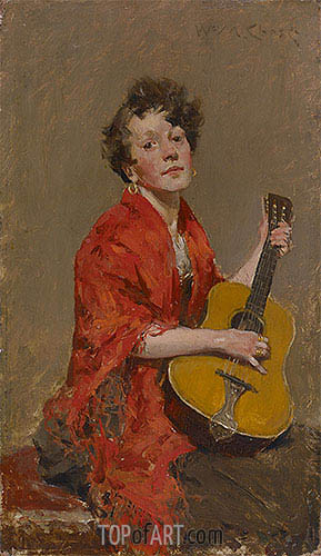 Girl with Guitar, c.1886 | William Merritt Chase | Painting Reproduction