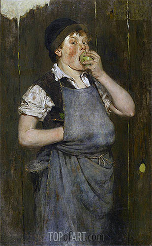 Boy Eating Apple (The Apprentice), 1876 | William Merritt Chase| Painting Reproduction
