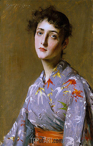 Girl in a Japanese Costume, c.1890 | William Merritt Chase| Painting Reproduction