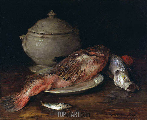 Still Life (Fish from the Adriatic), c.1907/14 | William Merritt Chase| Gemälde Reproduktion