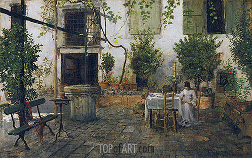 Courtyard in Venice, 1877 | William Merritt Chase | Painting Reproduction