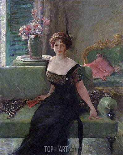 William Merritt Chase | Portrait of a Lady in Black (Annie Traquair Lang), 1911