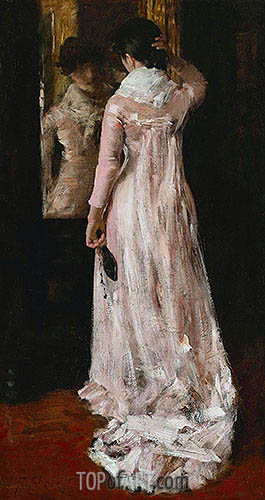 I Think I am Ready Now (The Mirror, the Pink Dress), c.1883 | William Merritt Chase| Painting Reproduction