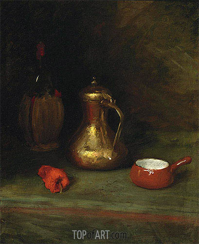 William Merritt Chase | Still Life with Bottle, Carafe, Pot and Red Pepper, c.1905