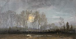 Moonlit Landscape, undated by William Trost Richards | Painting Reproduction