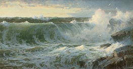 Rocky Surf Off Rhode Island, 1899 by William Trost Richards | Painting Reproduction