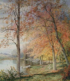 Autumn by a Pond, 1874 by William Trost Richards | Painting Reproduction