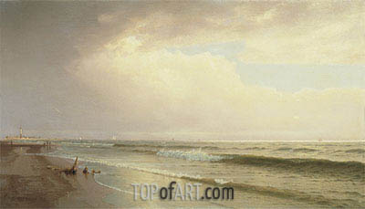Seascape with Distant Lighthouse, Atlantic City, New Jersey, 1873 | William Trost Richards | Painting Reproduction