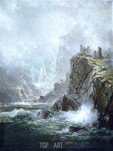 The Ruins of Fast Castle, Berwickshire, Scotland, 1892 | William Trost Richards| Painting Reproduction