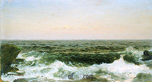 Sea off Cananicut Island, R. I., c.1880 | William Trost Richards| Painting Reproduction