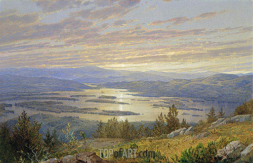 William Trost Richards | Lake Squam from Red Hill, 1874