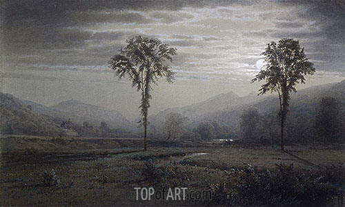 Moonlight on Mount Lafayette, New Hampshire, 1873 | William Trost Richards| Painting Reproduction