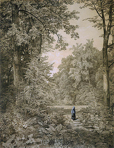 Landscape with Figure, c.1866/67 | William Trost Richards| Painting Reproduction