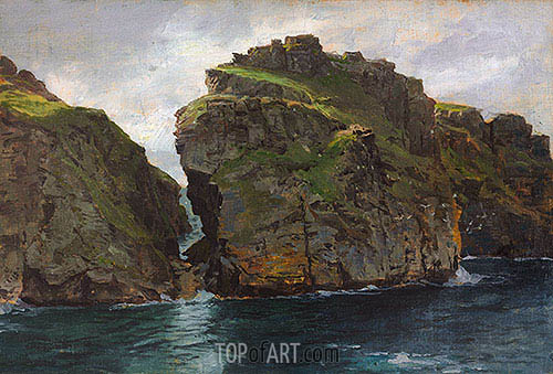 Near Tintagel, Cornwall, c.1890/99 | William Trost Richards| Painting Reproduction