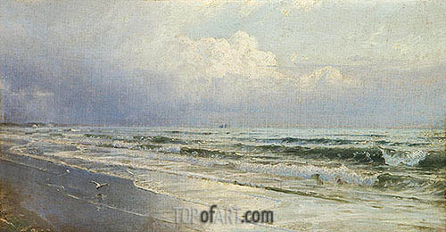 New Jersey Seascape - Atlantic City, c.1880/90 | William Trost Richards | Painting Reproduction