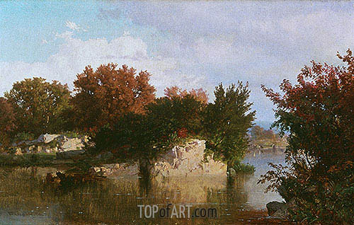 William Trost Richards | Trees along Stream in Fall, 1861