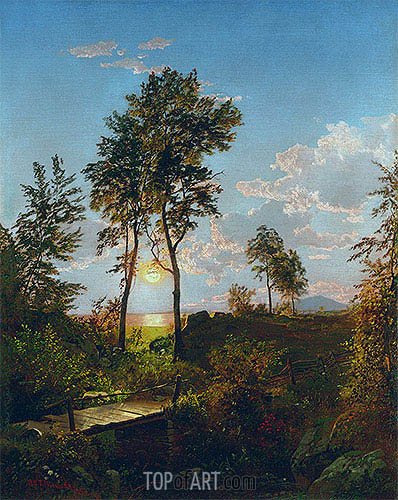 William Trost Richards | Wooden Bridge at Sunset, 1862