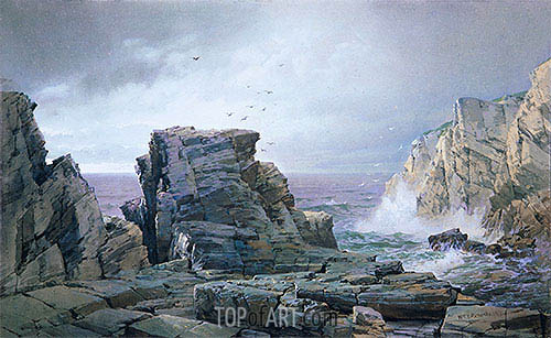 A Rocky Coast, 1877 | William Trost Richards | Painting Reproduction